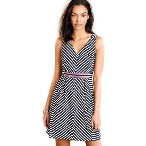 Anthropologie Maeve Striped Mitered Navy Dress XS